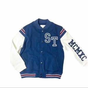 Like new! Zara navy varsity jacket